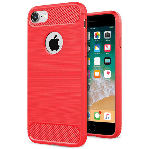 Flexi Carbon Fibre Brushed Case for Apple iPhone 8 / 7 - Red